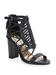 Cynthia Vincent Flora Leather Gladiator Sandals Black