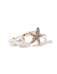 Pixie Market Starfish Diamond Pearl Ring