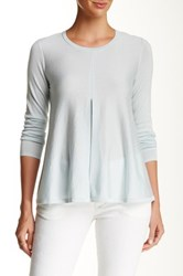 Lafayette 148 New York Relaxed Pleated Front Cashmere And Silk Blend Sweater Blue