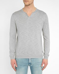 Harris Wilson Grey Grandad Collar Linen Slubbed Cotton Sweater