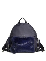 Moncler Flore Zaino Fur Pocket Backpack Navy