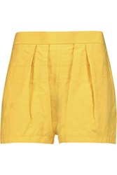 Marni Pleated Slub Canvas Shorts Yellow