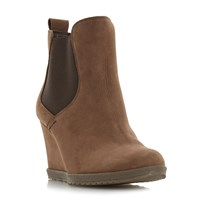 Dune Phillipe Elasticated Wedge Low Boots Taupe