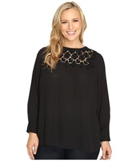Vince Camuto Plus Size Long Sleeve Blouse With Embroidered Lace Yoke Rich Black Women's Blouse