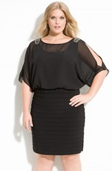 Xscape Evenings Plus Size Women's Xscape Beaded Cold Shoulder Dress