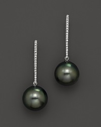 Bloomingdale's Cultured Tahitian Pearl And Diamond Earrings In 14K White Gold No Color