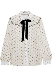 Miu Miu Ruffled Printed Silk Chiffon Blouse White