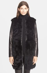 Women's Vince Long Shearling Bomber Coat Black Black