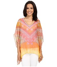 Hale Bob Hide And Go Chic Poncho Silk Blouse With Lurex Coral Women's Blouse