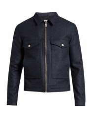 Ami Alexandre Mattiussi Zip Through Point Collar Wool Blend Jacket Indigo