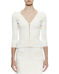 Alexander Mcqueen 3 4 Sleeve Lace Jacquard Cardigan Ivory Size X Large