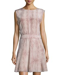 See By Chloe Lizard Print Sleeveless Fit And Flare Dress Light Gray