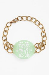 Women's Moon And Lola 'Annabel' Medium Oval Personalized Monogram Bracelet Mint Gold Nordstrom Exclusive