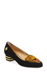 Charlotte Olympia Women's 'Mascot' Leopard Applique Pump Black Gold