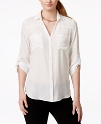 Amy Byer Bcx Juniors' Roll Cuff Button Front High Low Blouse White