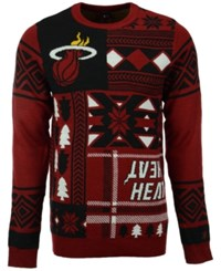 Forever Collectibles Men's Miami Heat Patches Christmas Sweater Black Maroon