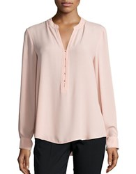 Ivanka Trump Sheer Crepe Long Sleeve Blouse Ballet Pink