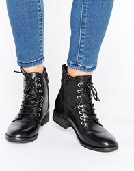 Aldo Germanie Flat Lace Up Leather Ankle Boots Black Leather
