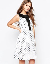 Closet Spot Flare Dress With Contrast Panel White Blue