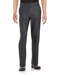 Dockers No Iron Straight Fit Flat Front Two Tone Dress Pant Charcoal