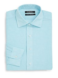 Saks Fifth Avenue Slim Fit Solid Linen And Cotton Dress Shirt Aqua