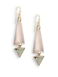 Alexis Bittar Lucite Black Mother Of Pearl And Crystal Crescent Drop Earrings Rose Grey