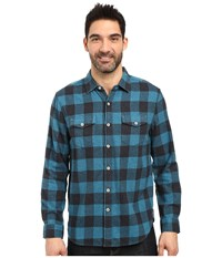 True Grit Vintage Melange Buffalo Check Long Sleeve Two Pocket Shirt Blue Men's Clothing