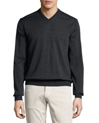 Neiman Marcus Wool V Neck Sweater Shadow