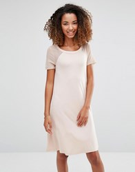 Vero Moda Swing Dress With Mesh Polka Dot Sleeves Rose Dust Pink