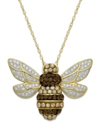 Kaleidoscope 18K Gold Over Sterling Silver Necklace Swarovski Crystal Bumble Bee Pendant