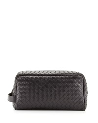 Bottega Veneta Woven Leather Dopp Kit Black Black