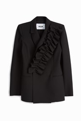 Msgm Ruffled Blazer Black