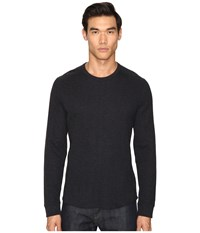Vince Raw Edge Long Sleeve Crew Neck Heather Manhattan Navy Men's T Shirt Black