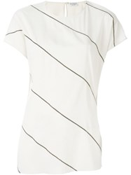 Brunello Cucinelli Embellished Stripe T Shirt Nude And Neutrals