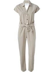 Carolinaritz Belted Shirt Jumpsuit Nude And Neutrals
