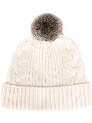 N.Peal Fur Bobble Cable Hat Nude And Neutrals