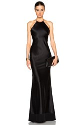 Calvin Klein Collection Fawn Satin Silk Charmeuse Gown In Black
