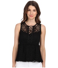 Nanette Lepore Lacy Tank Top Black Women's Blouse