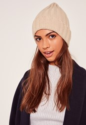 Missguided Plain Ribbed Beanie Hat Nude Stone