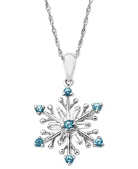 Macy's Sterling Silver Necklace Blue Topaz 3 8 Ct. T.W. And White Topaz 3 8 Ct. T.W. Snowflake Pendant