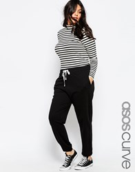 Asos Curve Sweat Pant With Contrast Tie Black