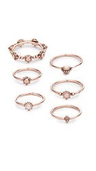Luv Aj The Baroque Stack Ring Set Rose Gold