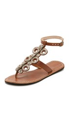 Laidback London Skye Beaded Sandals Mid Brown Silver