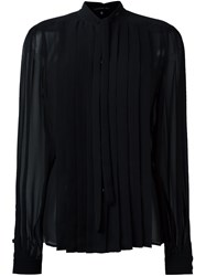 Barbara Bui Pleated Panel Sheer Shirt Black