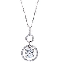 Lord And Taylor Sterling Silver Cubic Zirconia Circle Pendant Necklace