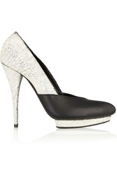Mcq By Alexander Mcqueen Cracked And Matte Leather Pumps White