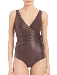 Lisa Marie Fernandez One Piece Dree Louise Wrap Maillot Brown