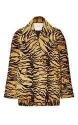 Adam By Adam Lippes Tiger Jacquard Double Breasted Coat Orange