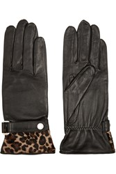 Agnelle Calf Hair Trimmed Leather Gloves