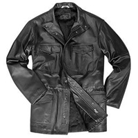 Forzieri Men's Black Italian Four Pocket Leather Jacket